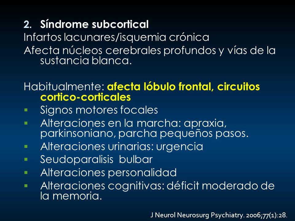 2. Síndrome subcortical Infartos lacunares/isquemia crónica Afecta núcleos cerebrales profundos y vías de la sustancia blanca. Habitualmente: afecta l