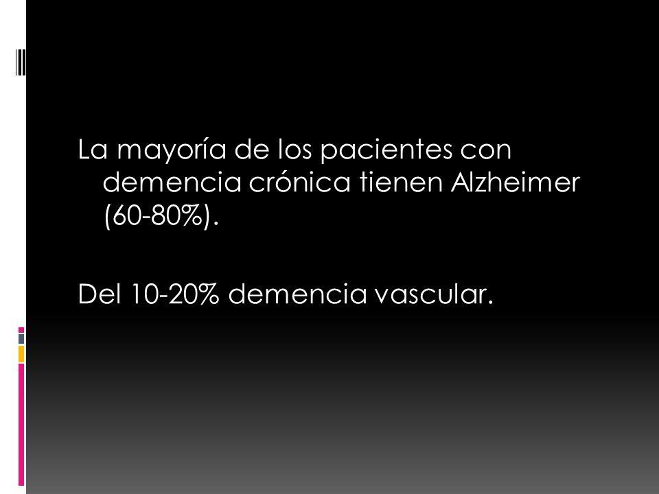 La mayoría de los pacientes con demencia crónica tienen Alzheimer (60-80%). Del 10-20% demencia vascular.