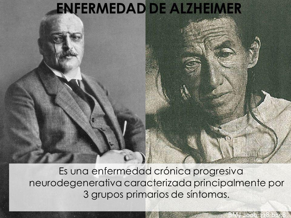 ENFERMEDAD DE ALZHEIMER Es una enfermedad crónica progresiva neurodegenerativa caracterizada principalmente por 3 grupos primarios de síntomas. BMJ 20