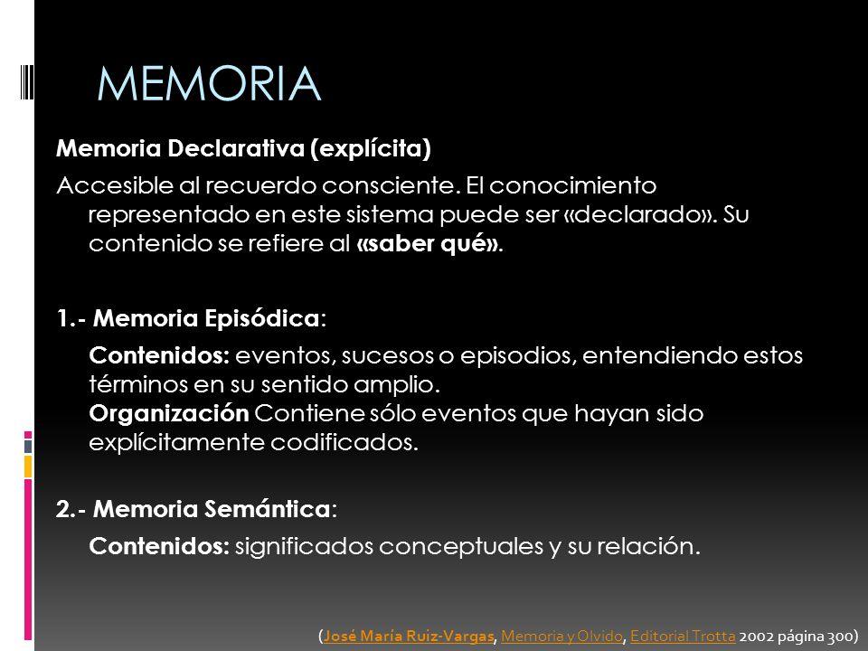 MEMORIA Memoria Declarativa (explícita) Accesible al recuerdo consciente. El conocimiento representado en este sistema puede ser «declarado». Su conte