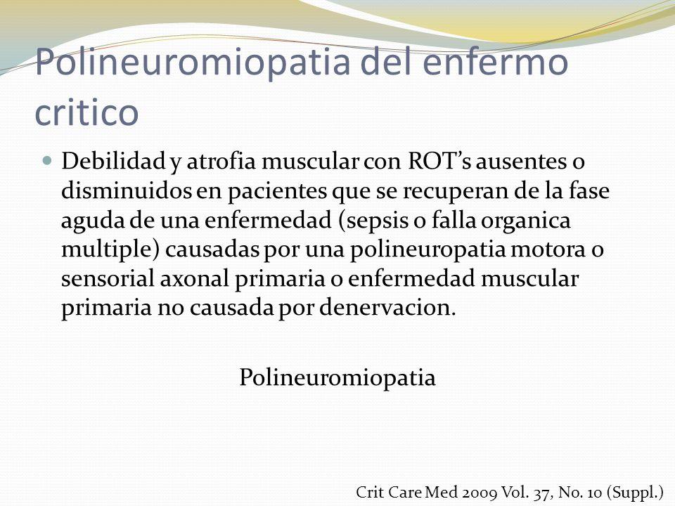 Polineuromiopatia del enfermo critico Debilidad y atrofia muscular con ROTs ausentes o disminuidos en pacientes que se recuperan de la fase aguda de u
