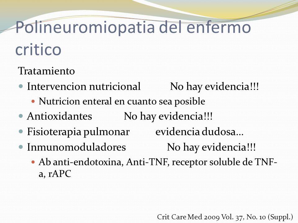 Polineuromiopatia del enfermo critico Tratamiento Intervencion nutricional No hay evidencia!!! Nutricion enteral en cuanto sea posible Antioxidantes N