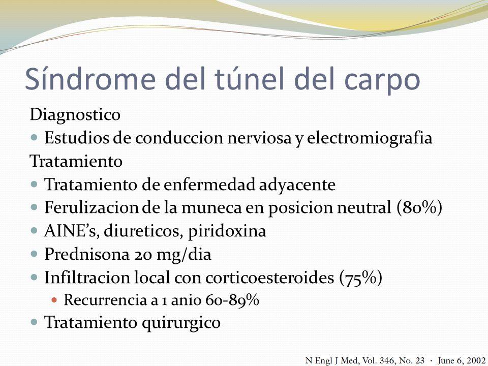 Síndrome del túnel del carpo Diagnostico Estudios de conduccion nerviosa y electromiografia Tratamiento Tratamiento de enfermedad adyacente Ferulizaci