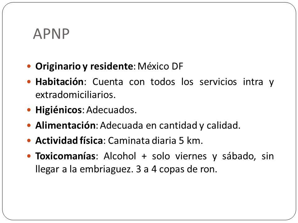 APNP Originario y residente: México DF Habitación: Cuenta con todos los servicios intra y extradomiciliarios. Higiénicos: Adecuados. Alimentación: Ade