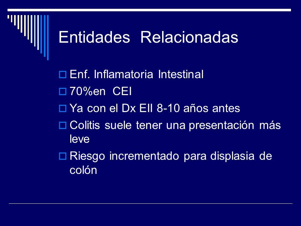 Entidades Relacionadas Enf. Inflamatoria Intestinal 70%en CEI Ya con el Dx EII 8-10 años antes Colitis suele tener una presentación más leve Riesgo in