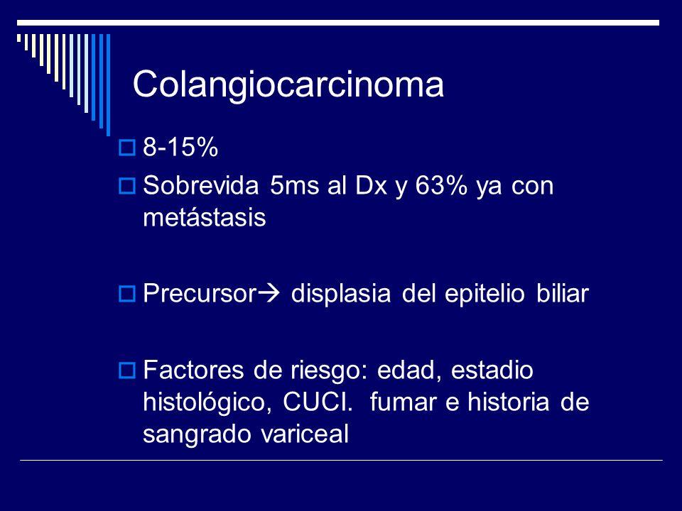 Colangiocarcinoma 8-15% Sobrevida 5ms al Dx y 63% ya con metástasis Precursor displasia del epitelio biliar Factores de riesgo: edad, estadio histológ