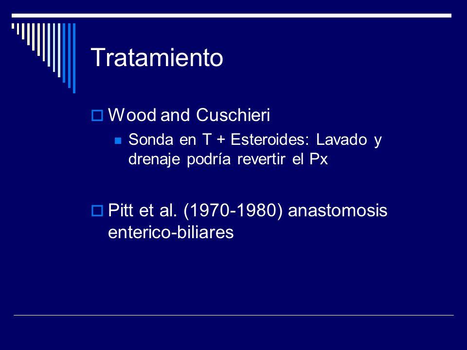 Tratamiento Wood and Cuschieri Sonda en T + Esteroides: Lavado y drenaje podría revertir el Px Pitt et al. (1970-1980) anastomosis enterico-biliares