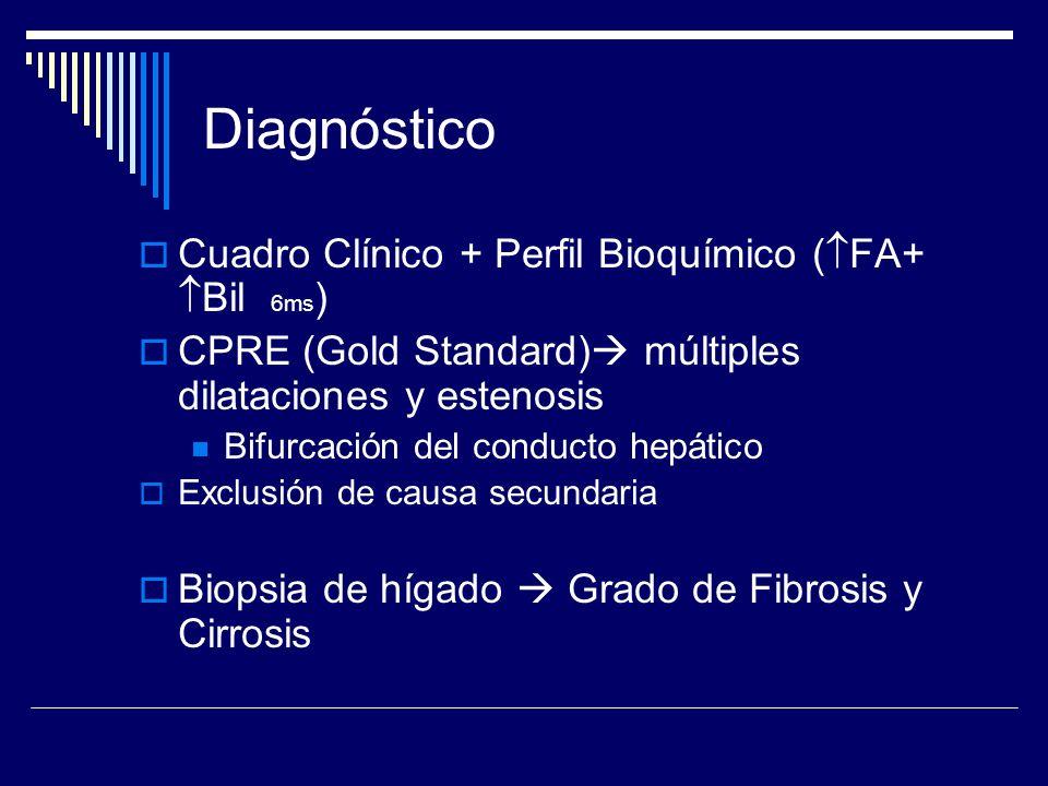 Diagnóstico Cuadro Clínico + Perfil Bioquímico ( FA+ Bil 6ms ) CPRE (Gold Standard) múltiples dilataciones y estenosis Bifurcación del conducto hepáti