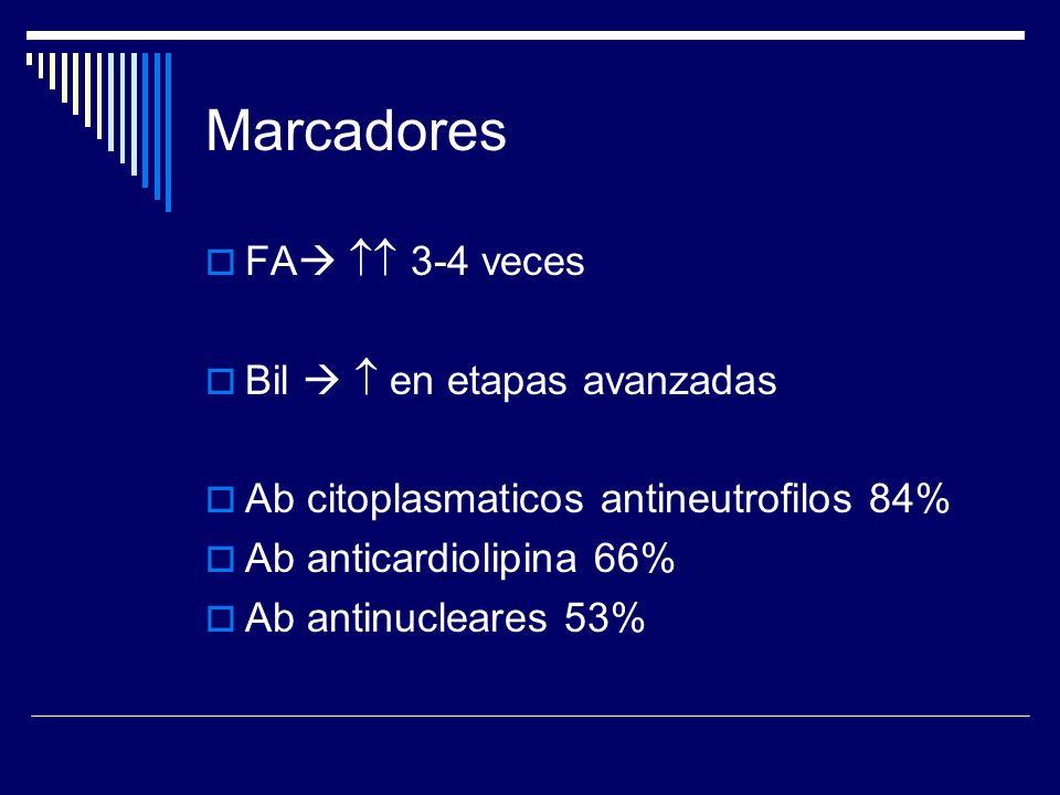 Marcadores FA 3-4 veces Bil en etapas avanzadas Ab citoplasmaticos antineutrofilos 84% Ab anticardiolipina 66% Ab antinucleares 53%