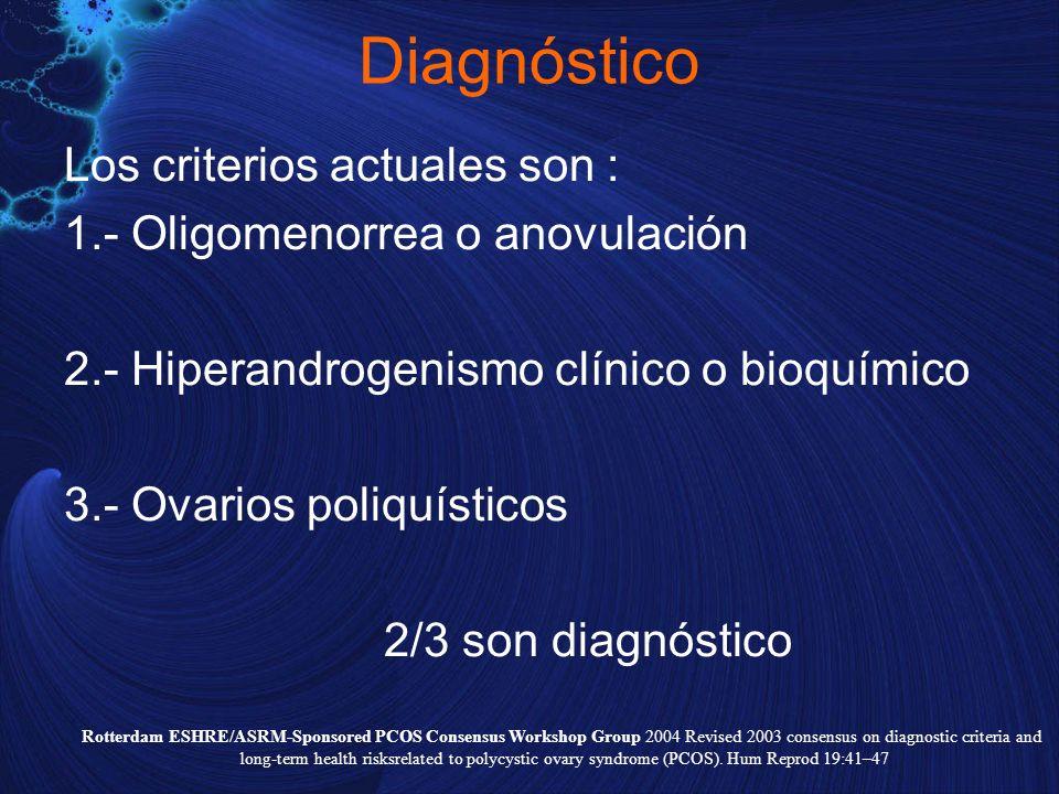 Diagnóstico Los criterios actuales son : 1.- Oligomenorrea o anovulación 2.- Hiperandrogenismo clínico o bioquímico 3.- Ovarios poliquísticos 2/3 son