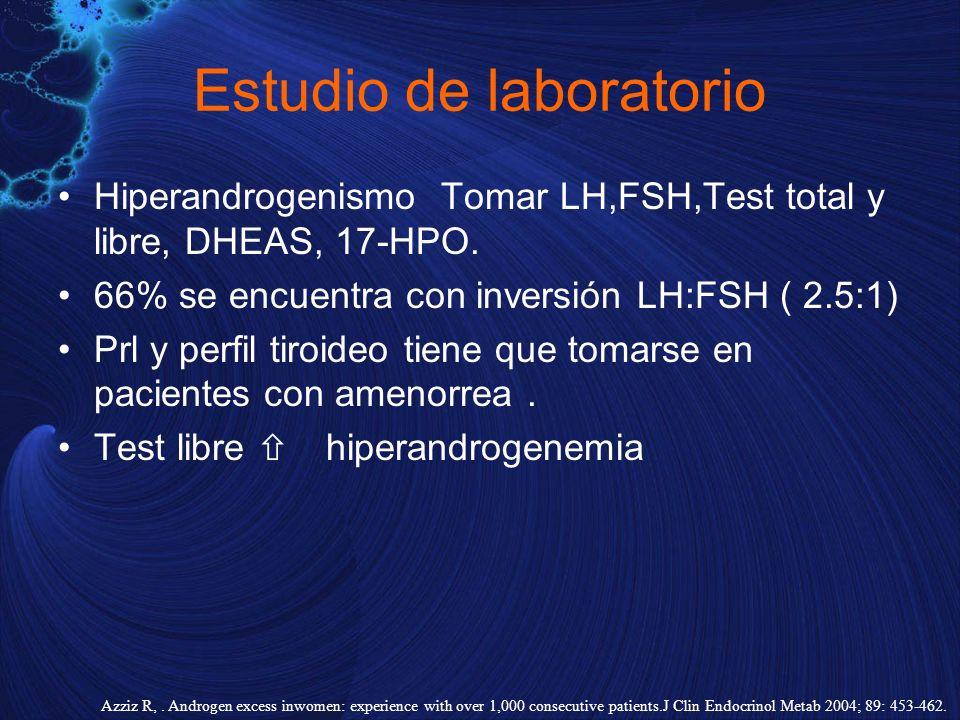 Estudio de laboratorio Hiperandrogenismo Tomar LH,FSH,Test total y libre, DHEAS, 17-HPO. 66% se encuentra con inversión LH:FSH ( 2.5:1) Prl y perfil t