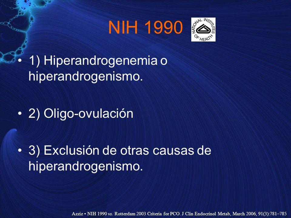 NIH 1990 1) Hiperandrogenemia o hiperandrogenismo. 2) Oligo-ovulación 3) Exclusión de otras causas de hiperandrogenismo. Azziz NIH 1990 vs. Rotterdam