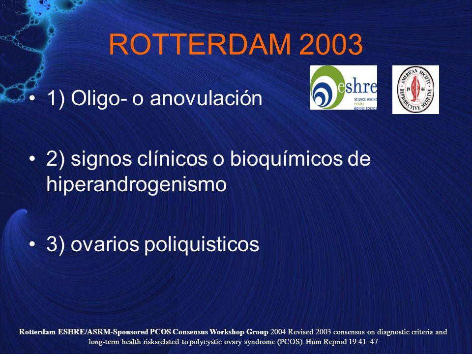 ROTTERDAM 2003 1) Oligo- o anovulación 2) signos clínicos o bioquímicos de hiperandrogenismo 3) ovarios poliquisticos Rotterdam ESHRE/ASRM-Sponsored P