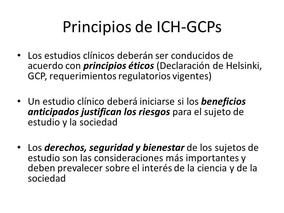 Principios de ICH-GCPs Los estudios clínicos deberán ser conducidos de acuerdo con principios éticos (Declaración de Helsinki, GCP, requerimientos reg