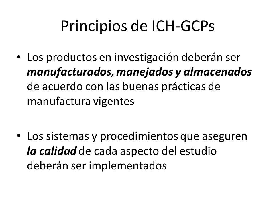 Principios de ICH-GCPs Los productos en investigación deberán ser manufacturados, manejados y almacenados de acuerdo con las buenas prácticas de manuf