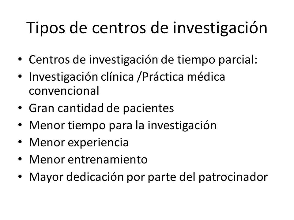 Tipos de centros de investigación Centros de investigación de tiempo parcial: Investigación clínica /Práctica médica convencional Gran cantidad de pac
