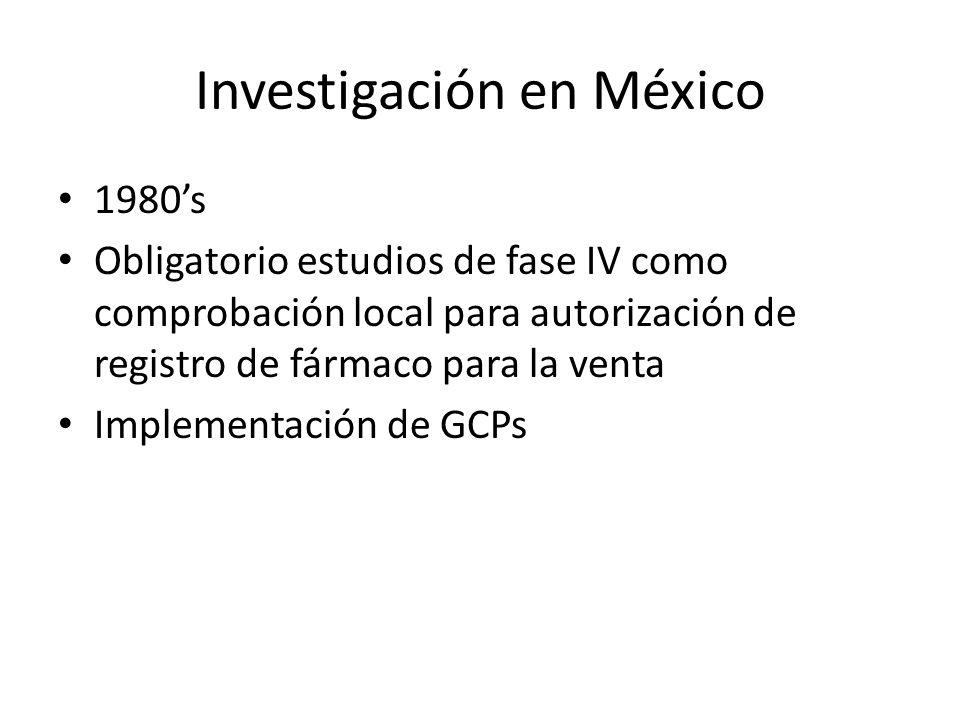 Investigación en México 1980s Obligatorio estudios de fase IV como comprobación local para autorización de registro de fármaco para la venta Implement