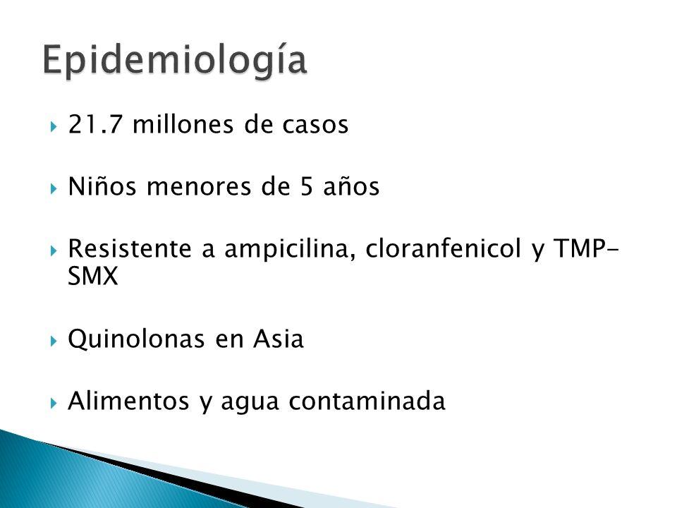 21.7 millones de casos Niños menores de 5 años Resistente a ampicilina, cloranfenicol y TMP- SMX Quinolonas en Asia Alimentos y agua contaminada