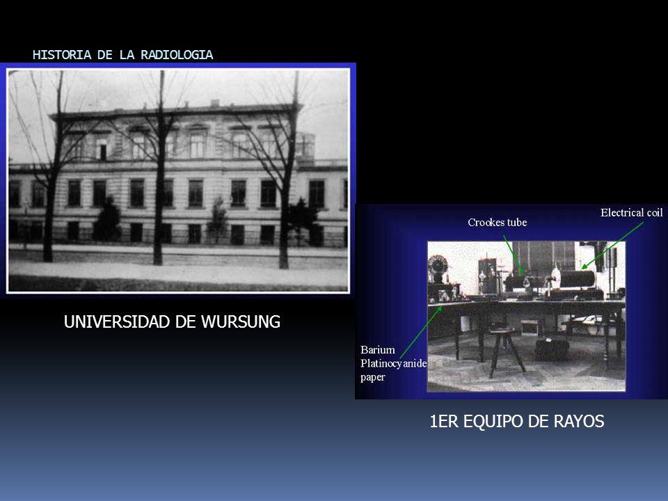 HISTORIA DE LA RADIOLOGIA UNIVERSIDAD DE WURSUNG 1ER EQUIPO DE RAYOS