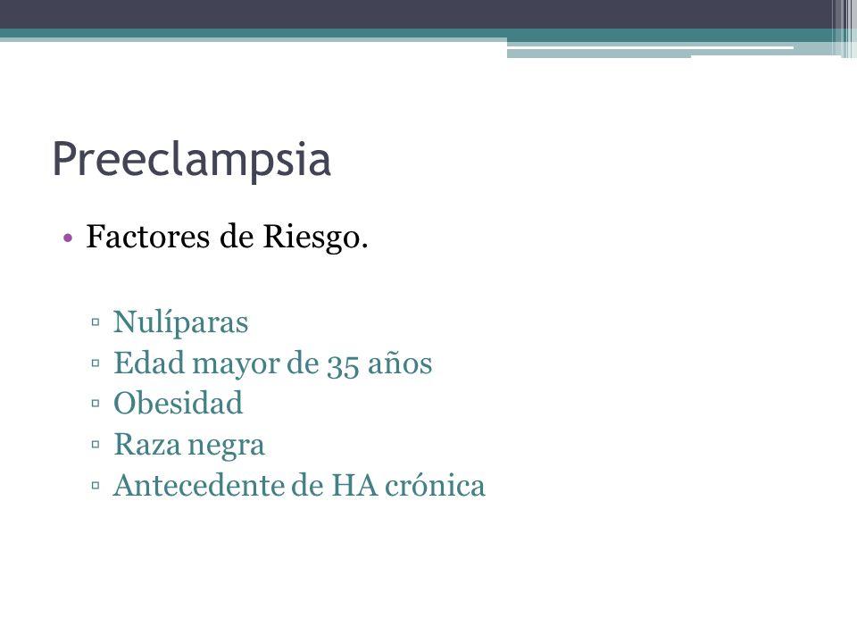 Preeclampsia Factores de Riesgo. Nulíparas Edad mayor de 35 años Obesidad Raza negra Antecedente de HA crónica