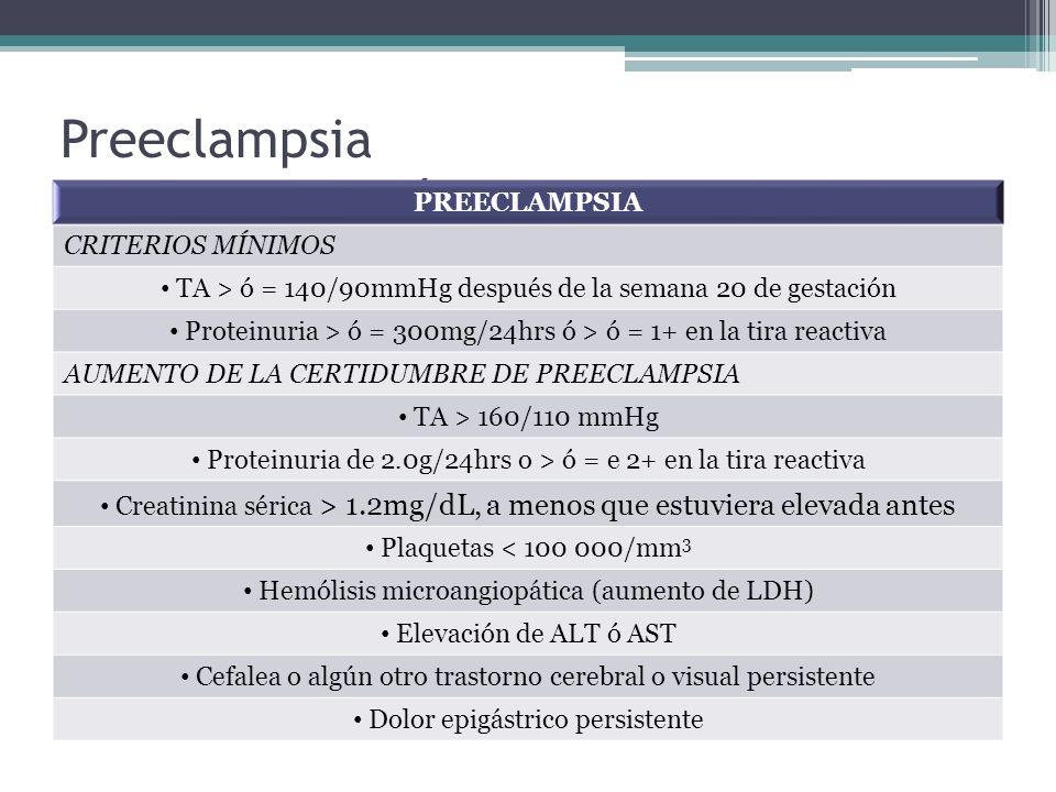 Preeclampsia Criterios Diagnósticos PREECLAMPSIA CRITERIOS MÍNIMOS TA > ó = 140/90mmHg después de la semana 20 de gestación Proteinuria > ó = 300mg/24