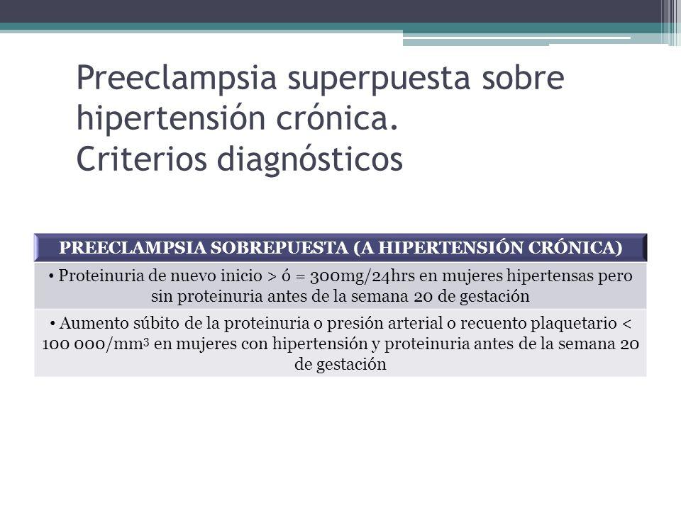Preeclampsia superpuesta sobre hipertensión crónica. Criterios diagnósticos PREECLAMPSIA SOBREPUESTA (A HIPERTENSIÓN CRÓNICA) Proteinuria de nuevo ini