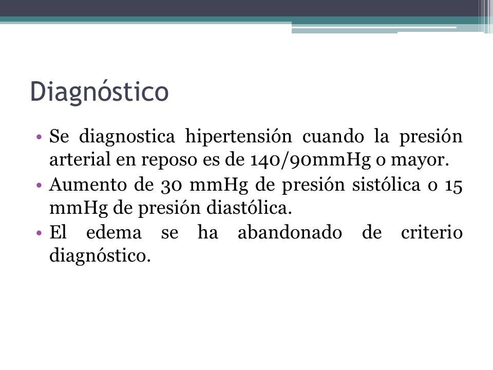 Diagnóstico Se diagnostica hipertensión cuando la presión arterial en reposo es de 140/90mmHg o mayor. Aumento de 30 mmHg de presión sistólica o 15 mm