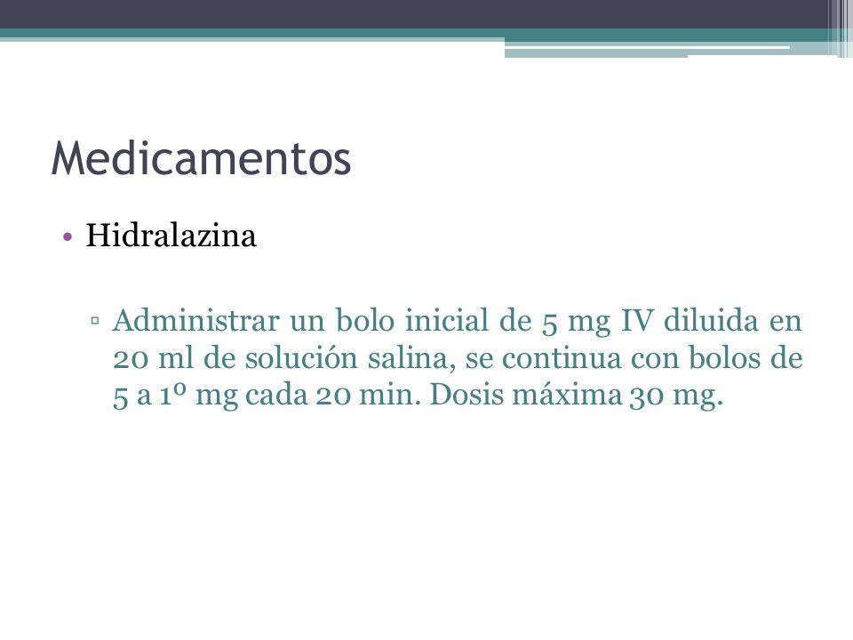 Medicamentos Hidralazina Administrar un bolo inicial de 5 mg IV diluida en 20 ml de solución salina, se continua con bolos de 5 a 1º mg cada 20 min. D