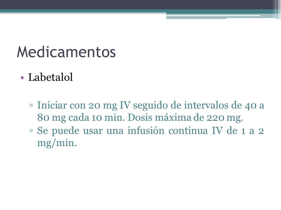 Medicamentos Labetalol Iniciar con 20 mg IV seguido de intervalos de 40 a 80 mg cada 10 min. Dosis máxima de 220 mg. Se puede usar una infusión contin