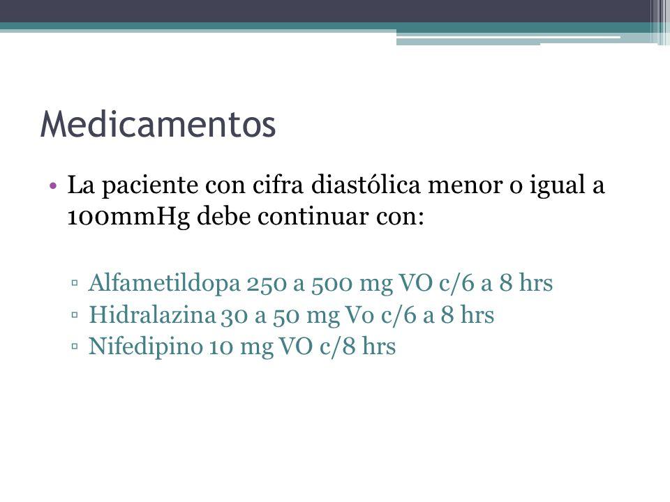 Medicamentos La paciente con cifra diastólica menor o igual a 100mmHg debe continuar con: Alfametildopa 250 a 500 mg VO c/6 a 8 hrs Hidralazina 30 a 5