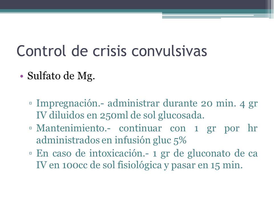 Control de crisis convulsivas Sulfato de Mg. Impregnación.- administrar durante 20 min. 4 gr IV diluidos en 250ml de sol glucosada. Mantenimiento.- co