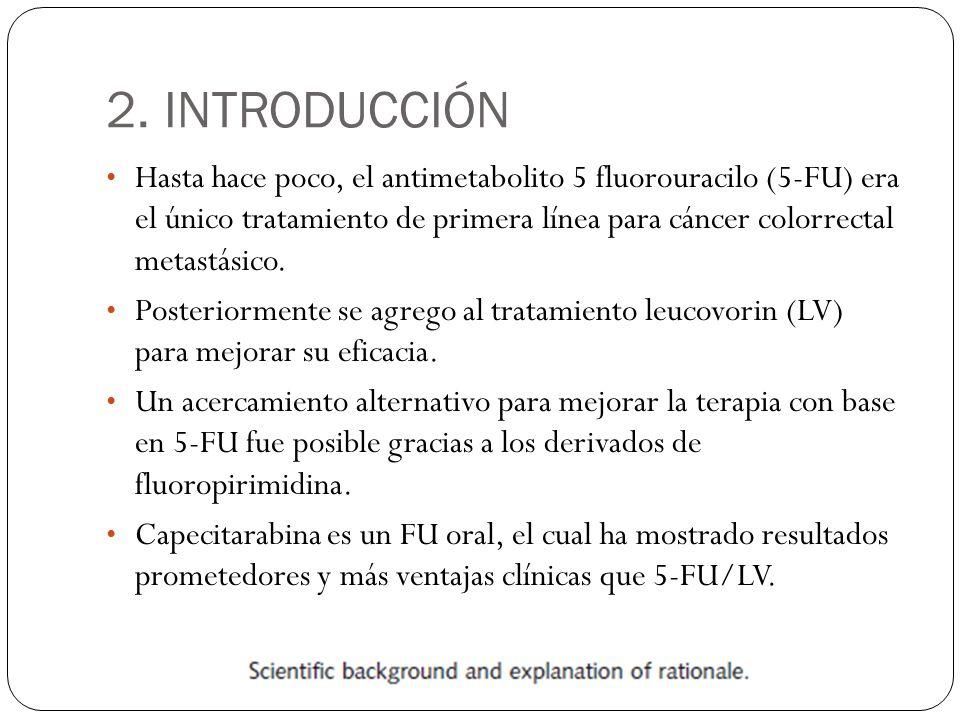 2. INTRODUCCIÓN Hasta hace poco, el antimetabolito 5 fluorouracilo (5-FU) era el único tratamiento de primera línea para cáncer colorrectal metastásic