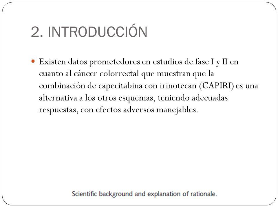 2. INTRODUCCIÓN Existen datos prometedores en estudios de fase I y II en cuanto al cáncer colorrectal que muestran que la combinación de capecitabina