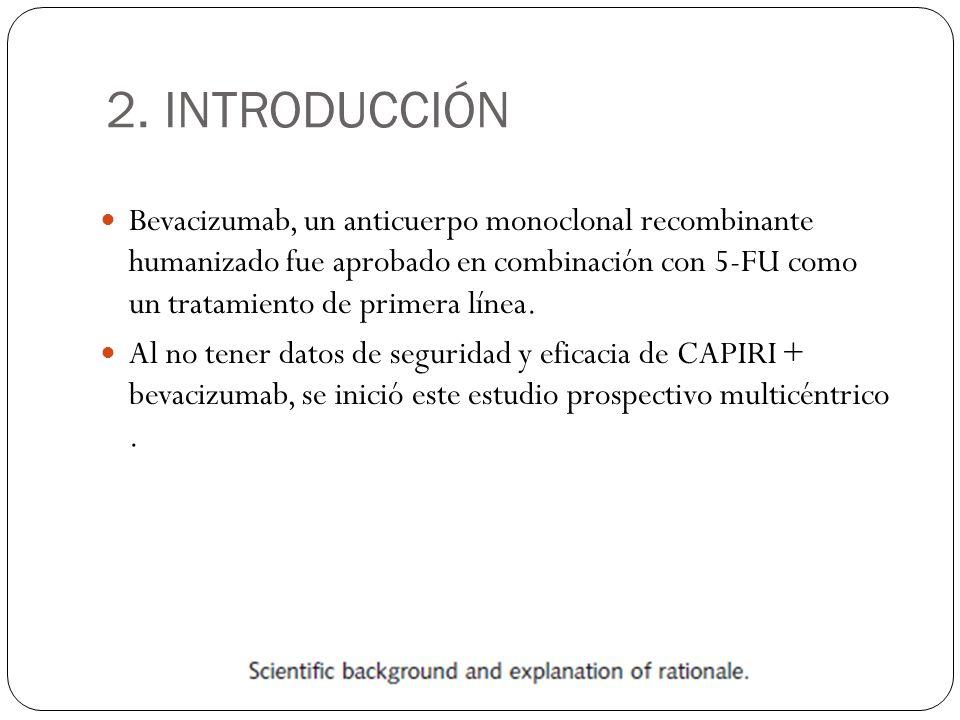 2. INTRODUCCIÓN Bevacizumab, un anticuerpo monoclonal recombinante humanizado fue aprobado en combinación con 5-FU como un tratamiento de primera líne