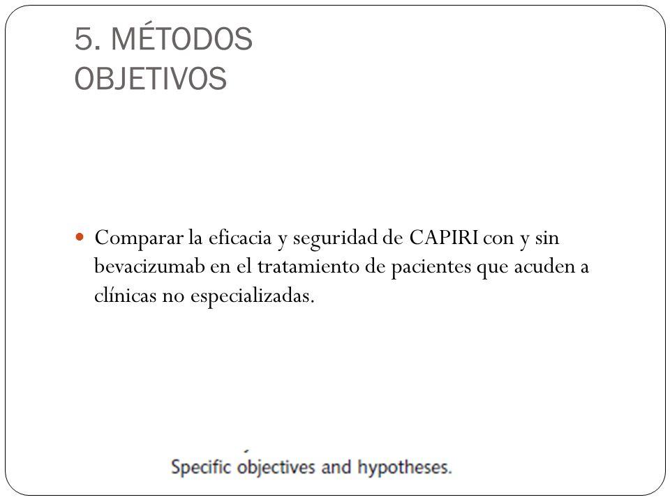 5. MÉTODOS OBJETIVOS Comparar la eficacia y seguridad de CAPIRI con y sin bevacizumab en el tratamiento de pacientes que acuden a clínicas no especial