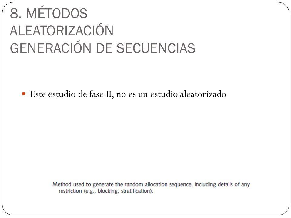 8. MÉTODOS ALEATORIZACIÓN GENERACIÓN DE SECUENCIAS Este estudio de fase II, no es un estudio aleatorizado