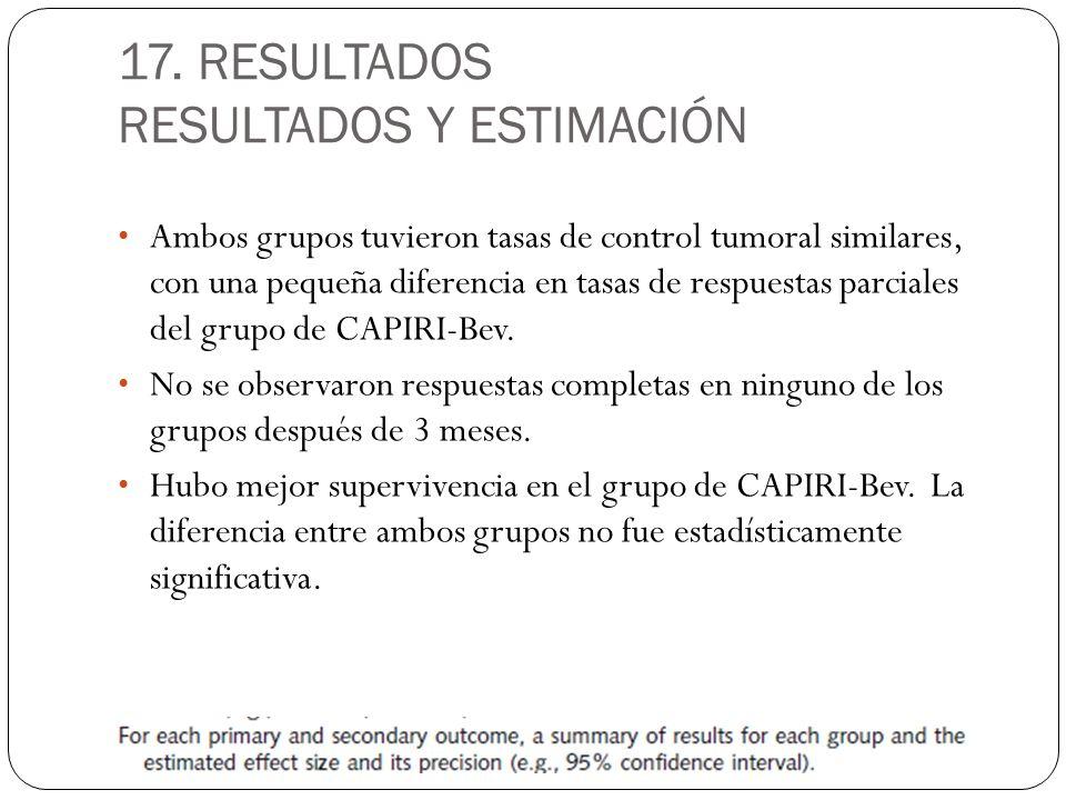 17. RESULTADOS RESULTADOS Y ESTIMACIÓN Ambos grupos tuvieron tasas de control tumoral similares, con una pequeña diferencia en tasas de respuestas par