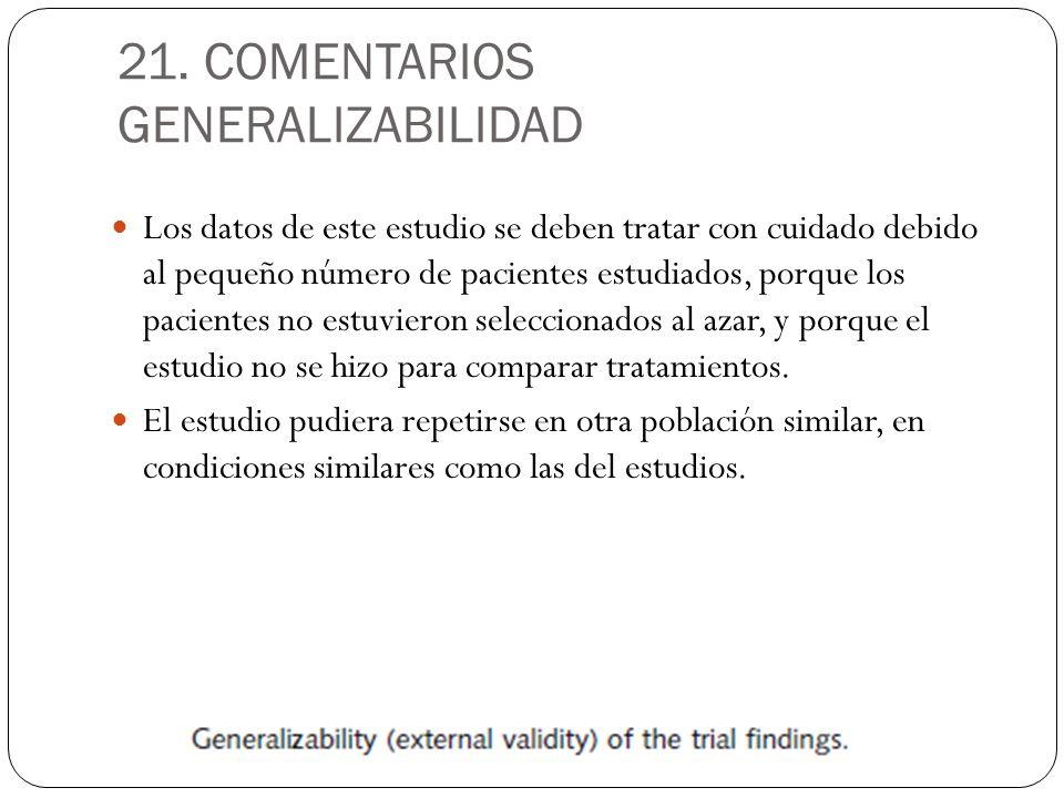 21. COMENTARIOS GENERALIZABILIDAD Los datos de este estudio se deben tratar con cuidado debido al pequeño número de pacientes estudiados, porque los p
