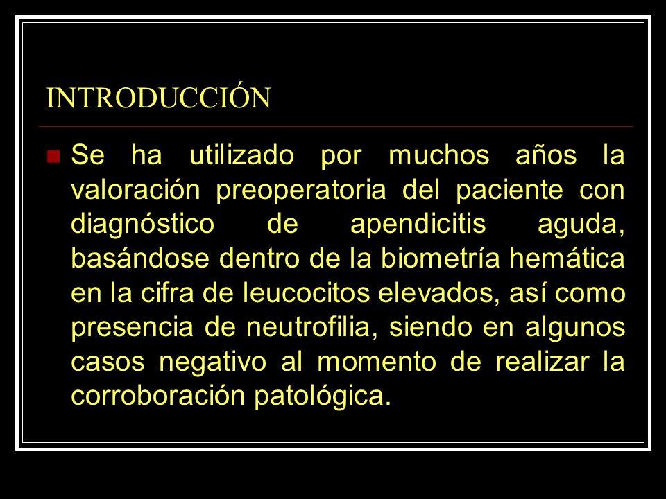 INTRODUCCIÓN Se ha utilizado por muchos años la valoración preoperatoria del paciente con diagnóstico de apendicitis aguda, basándose dentro de la bio