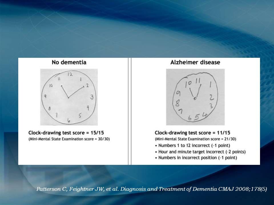 Patterson C, Feightner JW, et al. Diagnosis and Treatment of Dementia CMAJ 2008;178(5)