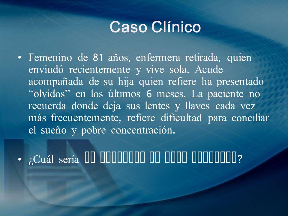 Caso clínico Descartar : demencia, delirium depresión MMSE : 28/30, ( un punto por concentración, un punto al recordar palabras después de tiempo ) No sx depresión, prueba de depresión ( PHQ -9) 6 puntos.