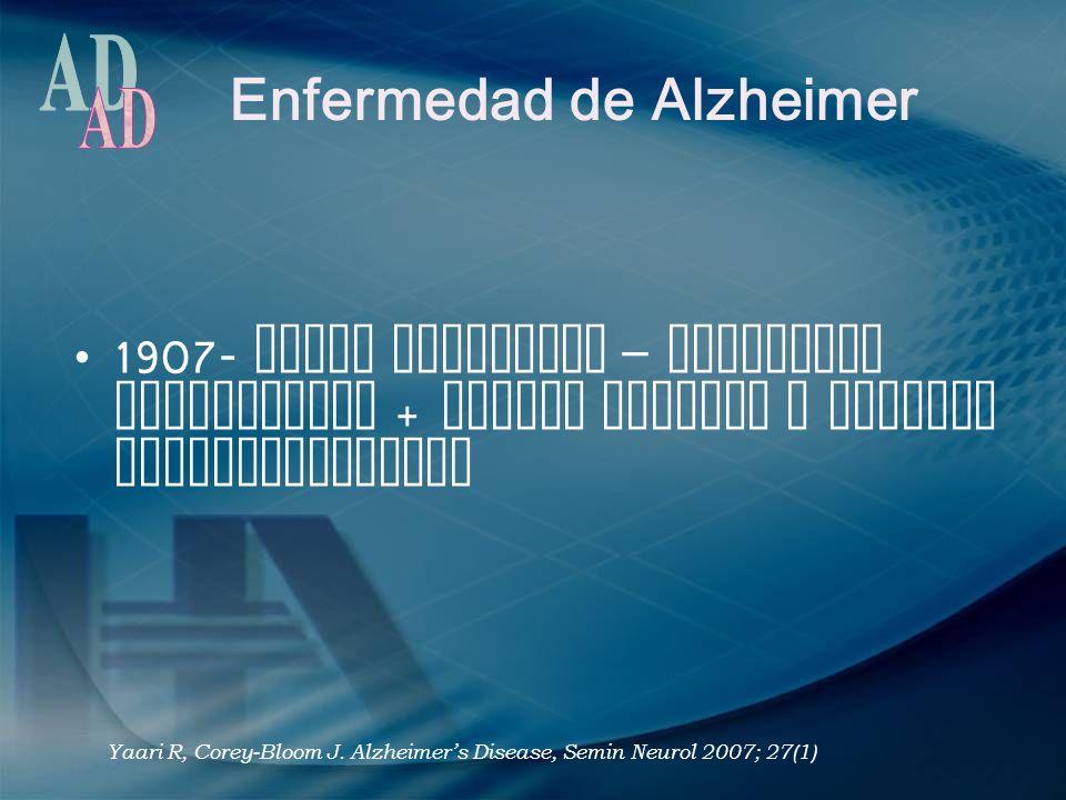 Enfermedad de Alzheimer 1907- Alois Alzheimer – deterioro intelectual + placas seniles y ovillos neurofibrilares Yaari R, Corey-Bloom J. Alzheimers Di