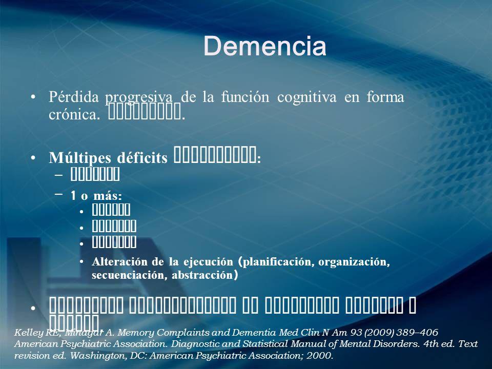 Demencia Pérdida progresiva de la función cognitiva en forma crónica. Adquirida. Múltipes déficits cognitivos : – Memoria –1 o más : Afasia Apraxia Ag