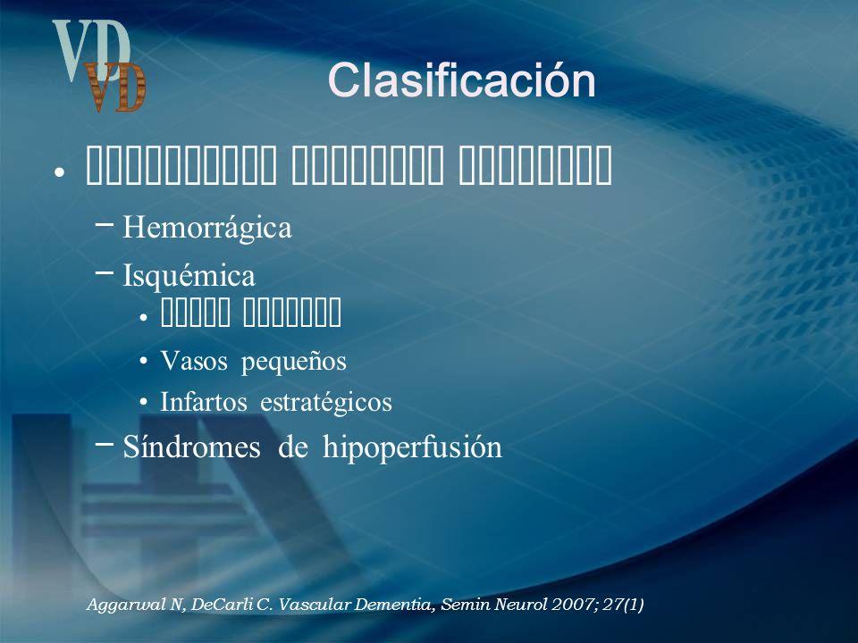 Clasificación Enfermedad vascular cerebral – Hemorrágica – Isquémica Vasos grandes Vasos pequeños Infartos estratégicos – Síndromes de hipoperfusión A