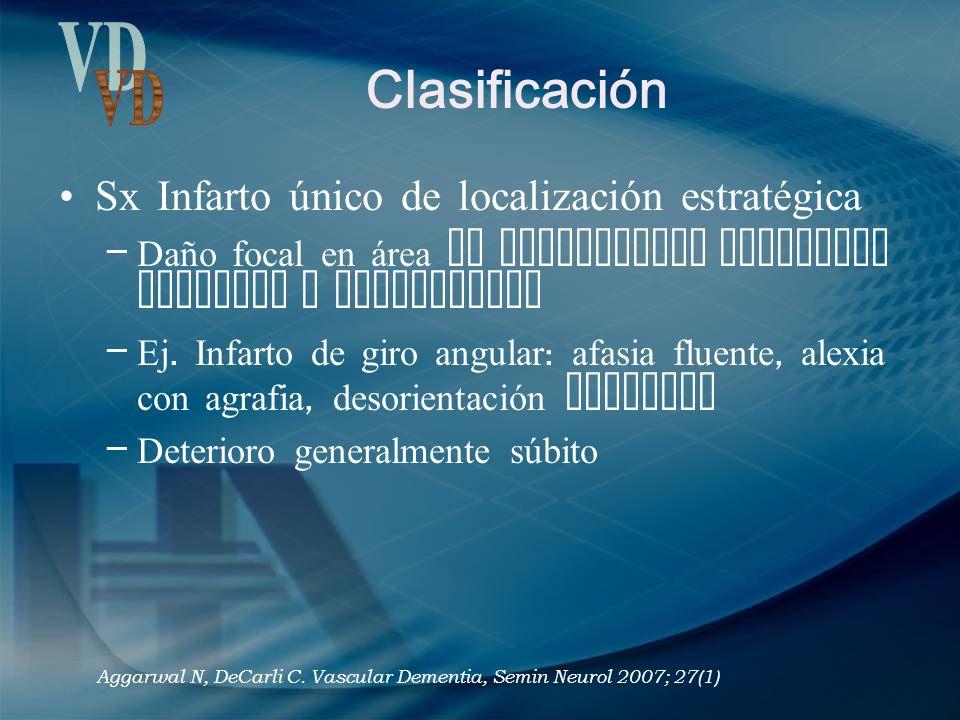 Clasificación Sx Infarto único de localización estratégica – Daño focal en área de importancia funcional cortical o subcortical – Ej. Infarto de giro