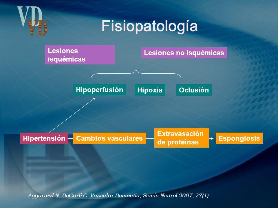 Fisiopatología Lesiones isquémicas Lesiones no isquémicas Hipoperfusión HipoxiaOclusión Hipertensión Cambios vasculares Extravasación de proteínas Esp