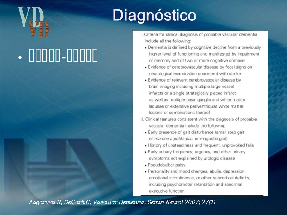 Diagnóstico NINDS - AIREN Aggarwal N, DeCarli C. Vascular Dementia, Semin Neurol 2007; 27(1)