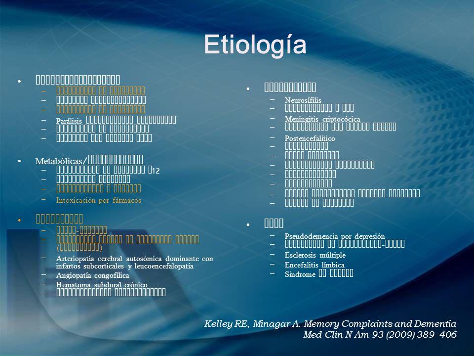 Etiología Neurodegenerativas – Enfermedad de Alzheimer – Demencia Frontotemporal – Enfermedad de Parkinson – Parálisis supranuclear progresiva – Enfer