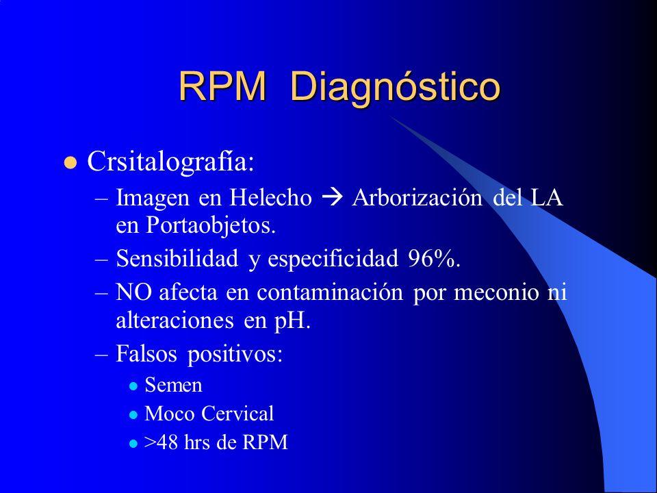 RPM Diagnóstico Crsitalografía: –Imagen en Helecho Arborización del LA en Portaobjetos. –Sensibilidad y especificidad 96%. –NO afecta en contaminación