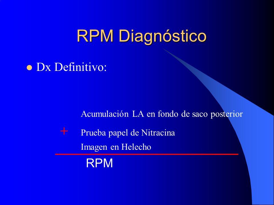 RPM Diagnóstico Dx Definitivo: Acumulación LA en fondo de saco posterior + Prueba papel de Nitracina Imagen en Helecho RPM